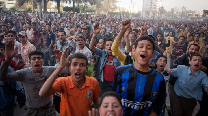 MAHALLA, EGYPT - APRIL 7, 2008: Tens of thousands of protestors took to the street to protest rising food prices and government attempts to privatize state-owned factories. The group became known as the April 6 Movement and played a major role in Egypt's 2012 revolution. (James Buck / PBS)