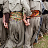 QANDIL, IRAQ: Female PJAK guerrillas dance traditional Kurdish dances.  The PJAK is a Kurdish separatist group fighting a guerrilla war for Kurdish independence in Iran. They were founded in 2004 when they split from the PKK, the (Kurdistan Workers' Party) which is fighting for Kurdish independence in Turkey. Both groups follow a general Communist ideology and both have male and female fighting units.  Photo by Sebastian Meyer