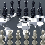 symbol of geopolitics, chess board out of the world map with chess play