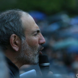 Nikol Pashinyan holds a speech during the protest action organized by 'My Step' and '#merjirserjin' initiatives on Freedom Square of Yerevan, Armenia