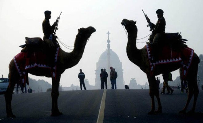NEW DELHI, JAN 17 (UNI):- BSF camels stand guard at Raisina Hills during the rehearsal of Beating Retreat ceremony in New Delhi on Tuesday. UNI PHOTO-108U