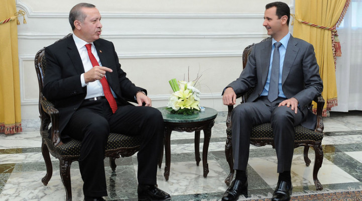 Syria's President Bashar al-Assad (R) meets Turkey's Prime Minister Tayyip Erdogan in Aleppo city February 6, 2011. REUTERS/Sana/Handout (SYRIA - Tags: POLITICS) THIS IMAGE HAS BEEN SUPPLIED BY A THIRD PARTY. IT IS DISTRIBUTED, EXACTLY AS RECEIVED BY REUTERS, AS A SERVICE TO CLIENTS. FOR EDITORIAL USE ONLY. NOT FOR SALE FOR MARKETING OR ADVERTISING CAMPAIGNS