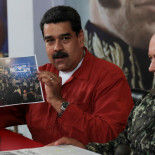 Venezuela's President Nicolas Maduro shows a photo during a TV show with National Constituent Assembly member Diosdado Cabello in Caracas, Venezuela April 11, 2018. Miraflores Palace/Handout via REUTERS ATTENTION EDITORS - THIS PICTURE WAS PROVIDED BY A THIRD PARTY.
