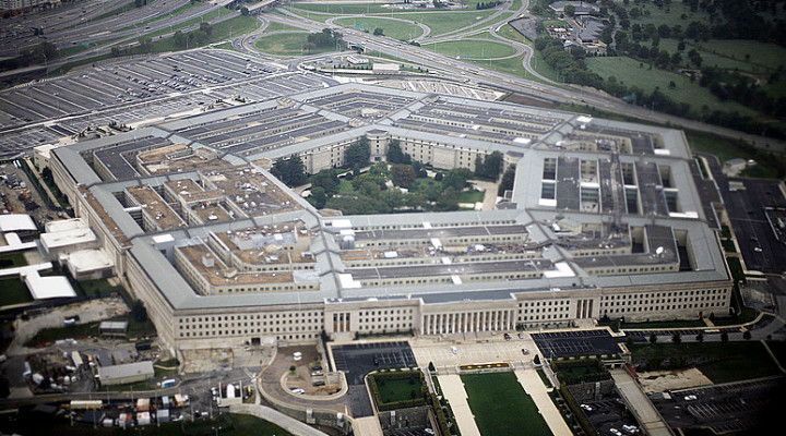 Aerial view of the United States military headquarters, the Pentagon, September 28, 2008. REUTERS/Jason Reed  (UNITED STATES)
