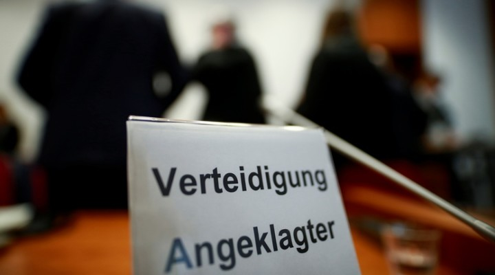 "A sign is seen during a break of a trial against British banker accused of involvement in bogus Cum-Ex tax reclaims of 440 million euros from the German state, at a regional court in Bonn, Germany, March 18, 2020. Sign reads ""lawyer of accused person"". REUTERS/Thilo Schmuelgen"