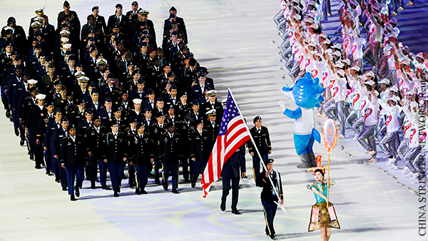 Members of the U.S. team enter the stadium during the opening ceremony of the 7th CISM Military World Games in Wuhan, Hubei province, China October 18, 2019. Picture taken October 18, 2019. REUTERS/Stringer ATTENTION EDITORS - THIS IMAGE WAS PROVIDED BY A THIRD PARTY. CHINA OUT.